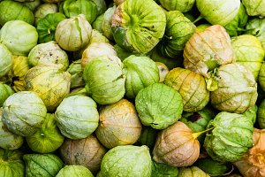 Tomatillos on display at market