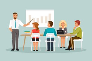 Office meeting. Vector illustration