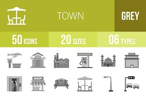 50 Town Greyscale Icons