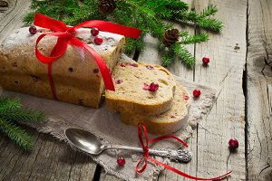 Christmas cake with cranberries with copy space