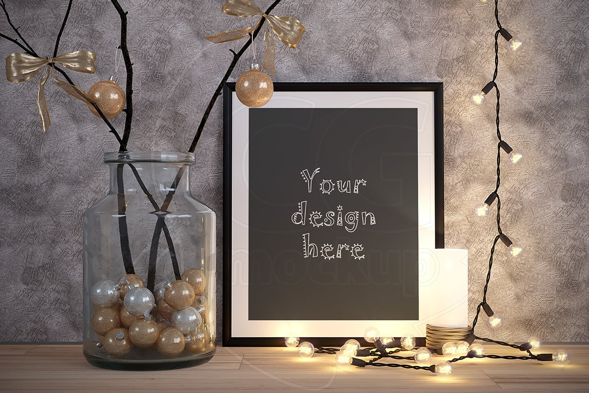 Merry CHRISTMAS black frame mockup ~ Product Mockups ~ Creative Market