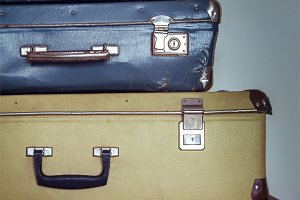 Antique shabby  Suitcases in a Stack, Vintage trunks
