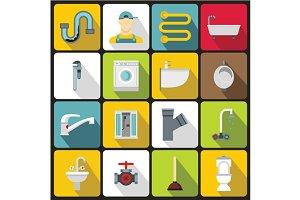 Plumbing icons set, flat style