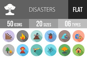 50 Disasters Flat Shadowed Icons