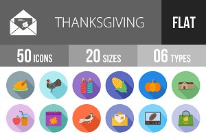 50 Thanksgiving Flat Shadowed Icons