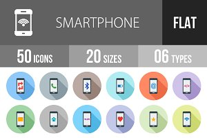 50 Smartphone Flat Shadowed Icons