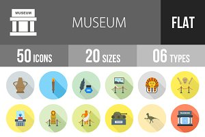 50 Museum Flat Shadowed Icons