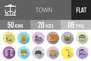 50 Town Flat Shadowed Icons