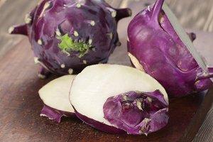 Kohlrabi cabbage on a board