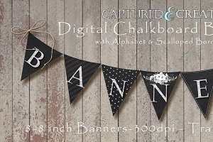 9-Digital Chalkboard Banner/Pendants