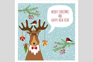 Cute Christmas Deer Card