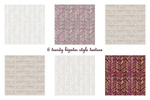 6 hipster style seamless patterns