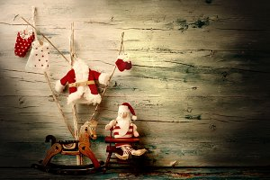 Cute Santa Claus card.Copyspace