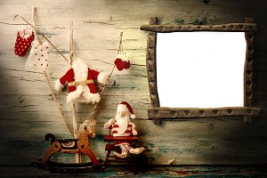 Christmas photo frame greeting card.