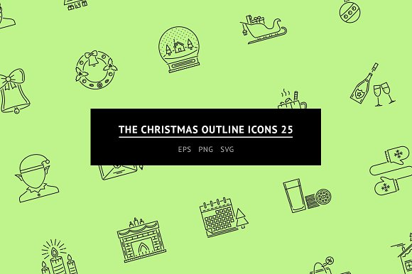 The Christmas Outline Icons 25