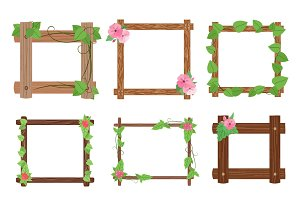 Wooden frames with leaves vector set
