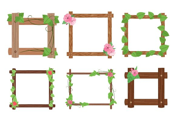 Wooden frames with leaves vector set in Objects
