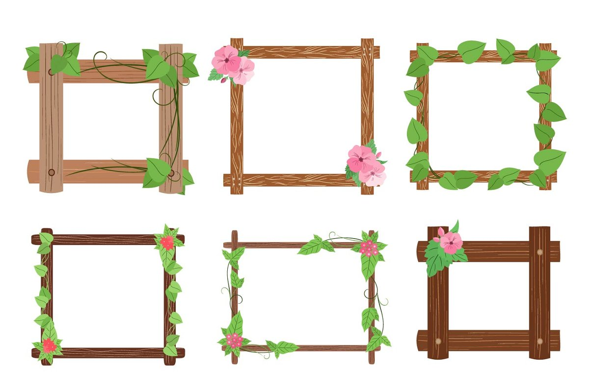 Wooden frames with leaves vector set in Objects - product preview 8