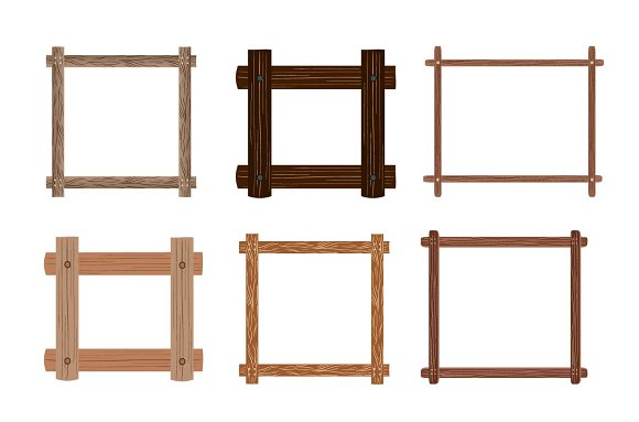 Wooden frames with leaves vector set in Objects - product preview 1