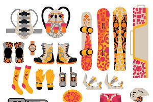 Snowboard sport clothes vector set