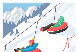 Snowboarder sitting in ski gondola
