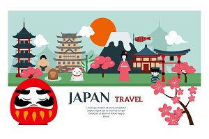 Japan landmark travel vector poster