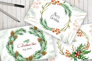 Christmas Watercolor Design Elements