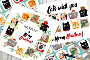Cartoon Christmas Designs with Cats