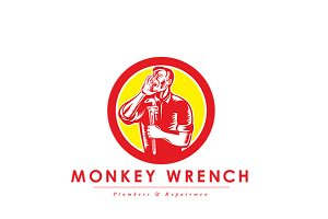 Monkey Wrench Plumbers Logo