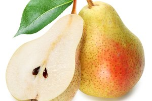 Pears with slice isolated on white