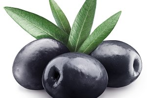 black olives isolated on a whit