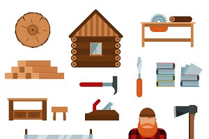 Lumberjack tools icons vector