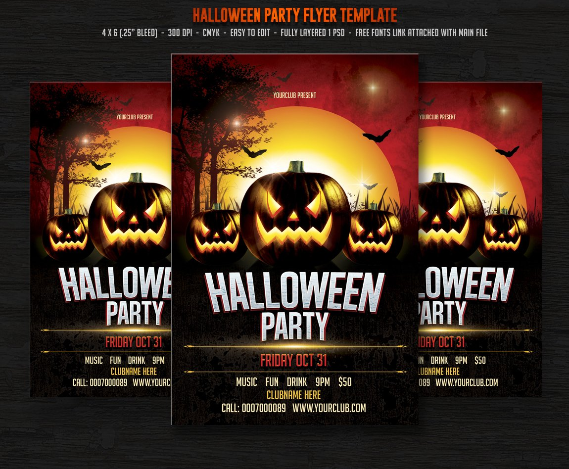 Halloween party flyer templates creative market for Free halloween flyer templates