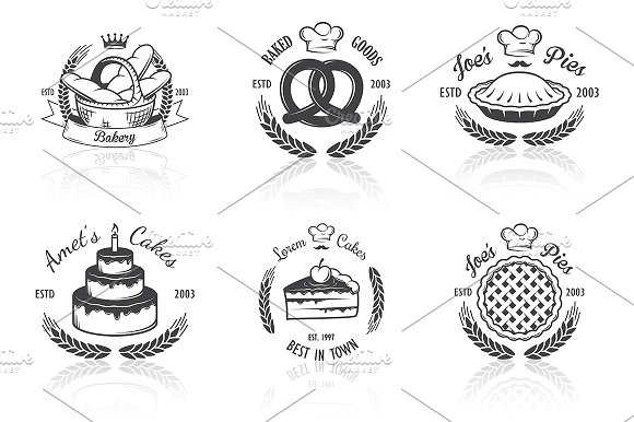 Vintage bakery emblems. Part 3 - Logos