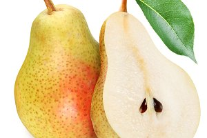 Pears with slice on a white.