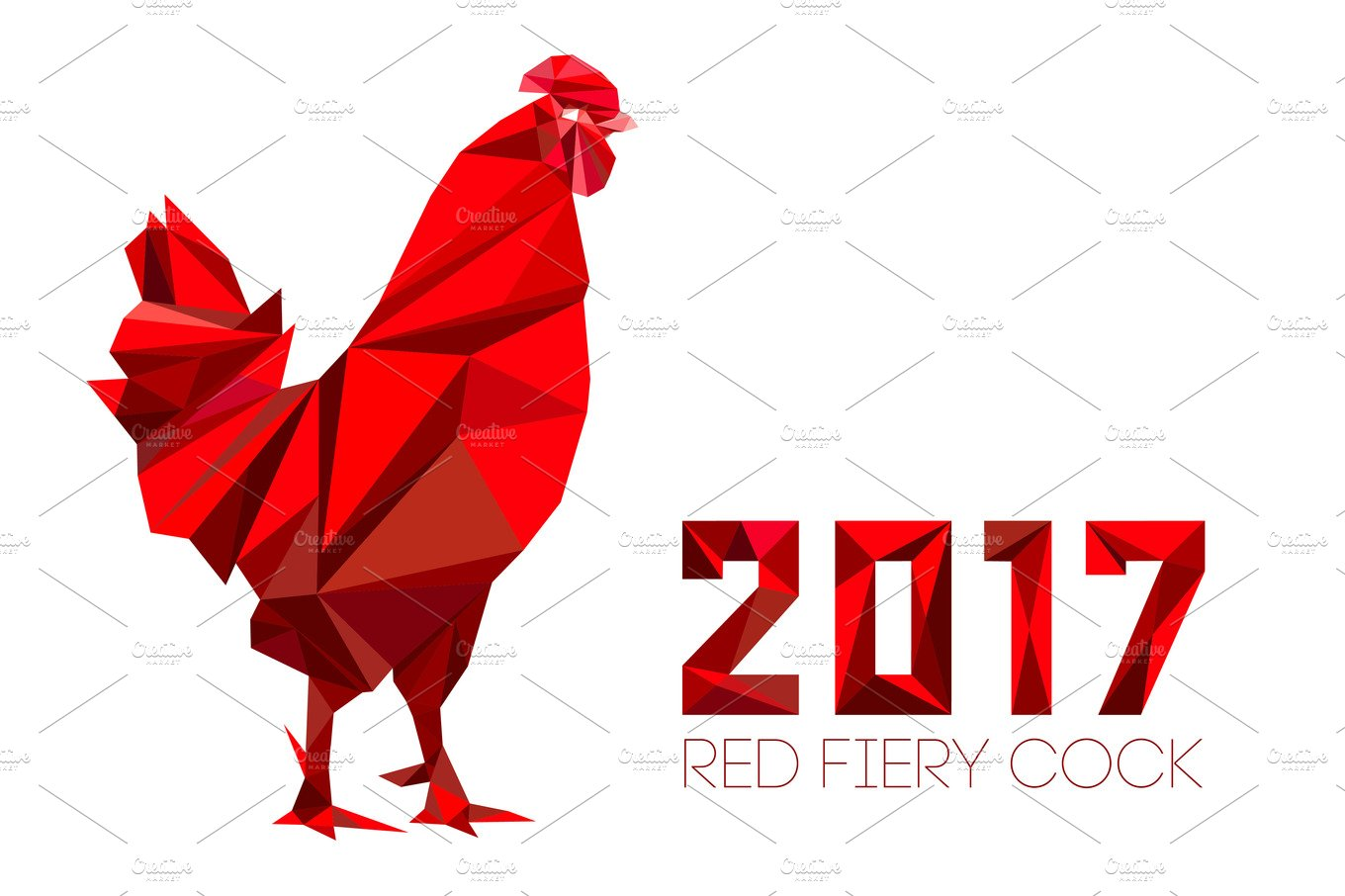 Cock Rooster Symbol Of New 2017 Illustrations Creative Market