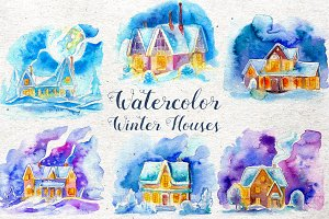 Watercolor Winter Houses