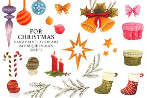 Christmas Clipart Watercolor Set