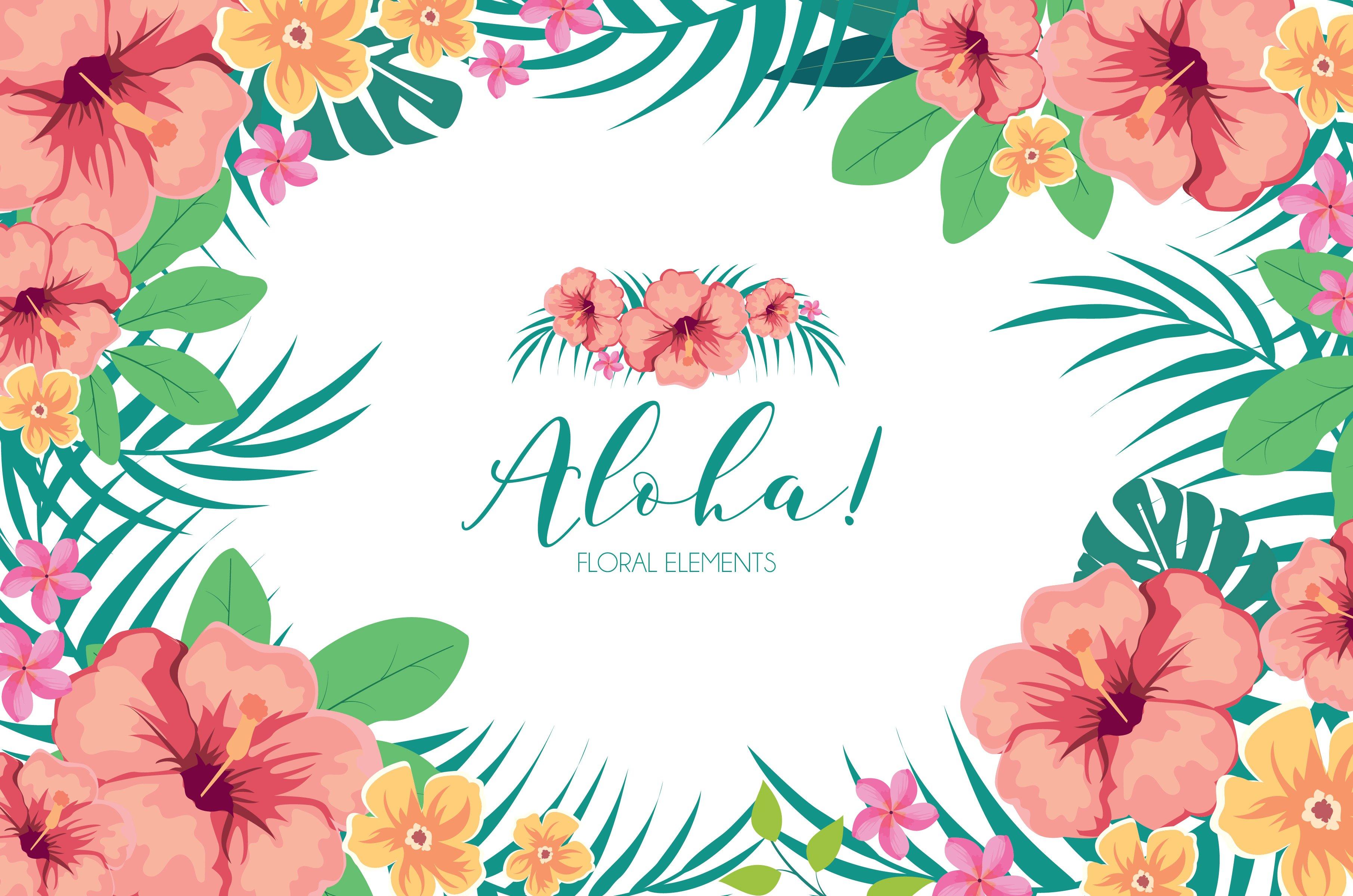 Tropical Hawaiian Flowers Clipart | Custom-Designed ...