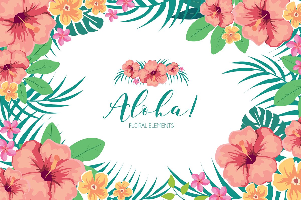 Tropical Hawaiian Flowers Clipart Custom Designed Illustrations