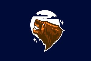 Grizzly bear mascot. Logotype