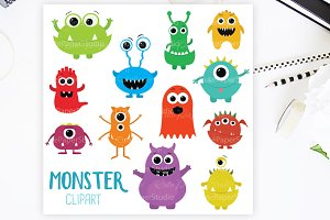 Monster Clipart Character Set