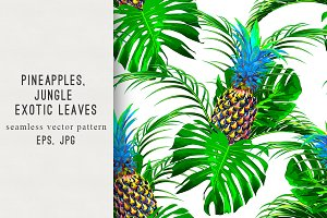 Pineapples,exotic leaves pattern