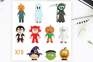 Halloween Clipart Monsters Set