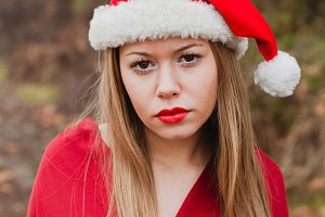 Young woman with Christmas hat