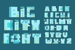 Alphabet set letters-buildings