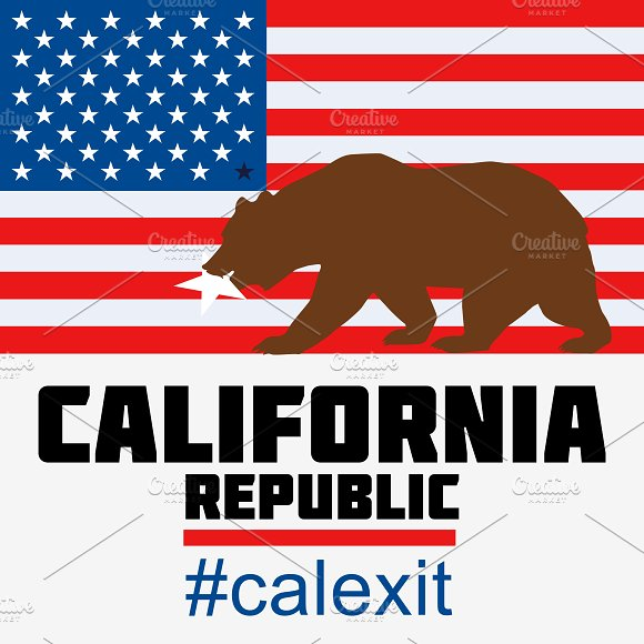 California leave USA. Calexit set - Illustrations