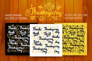 Thanksgiving Lettering Design Set