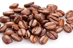 Roasted coffee beans isolated