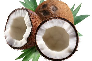 Chopped coconuts with leaves on white background. File contains a clipping paths.